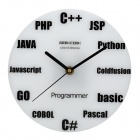 Geek Cook VR650 Programming Language Wall Clock -- White Plus Black (Homeware Category)
