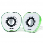 Green Apple USB MP3 Music Dual Speaker (3.5W x 2) (Speakers Category)