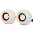 2x3W USB Powered MP3 Music Speaker White (60 centimeters Cable) (Speakers Category)