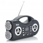 "2 Mode 14 LED White Torch Plus 1.4"" LCD Rechargeable MP3 Music Speaker with FM / USB / SD / TF Black (Speakers Category)"
