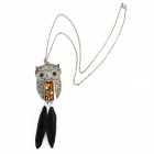 eQ-ute-GD KQ393 Retro Fashionable Feather Owl Necklace -- Golden Plus Black Plus Silver (Necklaces Category)