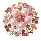 Adjustable Pearl with Austrian Crystal Flower Ring Brink Pink (Rings Category)