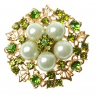 Adjustable Pearl with Austrian Crystal Flower Ring Peridot Green (Rings Category)