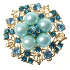 Adjustable Pearl with Austrian Crystal Flower Ring Swiss Blue (Rings Category)