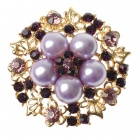 Adjustable Pearl with Austrian Crystal Flower Ring Amethyst (Rings Category)