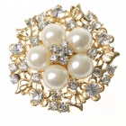 Adjustable White Pearl with Austrian Crystal Flower Ring (Rings Category)