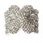 Adjustable White CZ 18KP Micro pave X Ring (Rings Category)