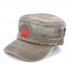 Worn Look Flat Top Red Star Hat Grey (Hats Category)