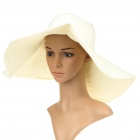 Straw Woven Sun Floppy Wide Brim Hat White (Hats Category)
