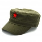 Red Star Pattern Flat Top Cotton Fabric Cap Hat Army Green (Hats Category)