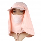 Multi Use Cotton Hat with Detachable Shawl Plus Mask (Pink) (Hats Category)
