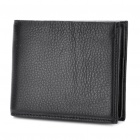 Cowhide Leather Horizontal 2 Fold Wallet Purse Black (Purses & Wallets Category)