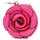 PU Leather Rose Shaped Coin Purse with Keychain (Random Colours) (Purses & Wallets Category)