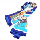 Fashion Africa Pattern Multi Function Square Velvet Scarf Blue Plus Yellow Plus White (Scarves Category)