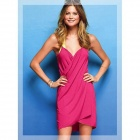 QJ813 Creative Sleeveless Dress Bath Beach Towel -- Deep Pink (Pants & Dresses Category)