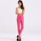 YQ495 Fashionable Women's High Waist Faux Leather Zip Leggings -- Deep Pink (Free Size) (Pants & Dresses Category)