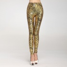 IA219 Women's Metallic Scales Veins Leggings -- Golden (Free Size) (Pants & Dresses Category)