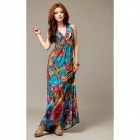BS714 Women's Bohemia V Collar Halter neck Long Dress -- Multi-coloured (Free Size) (Pants & Dresses Category)