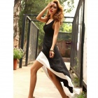 YZ722 Women Deep U Neck Backless Swallow Tail Sleeveless Long Dress -- Black Plus White (Pants & Dresses Category)