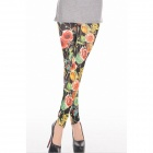 YW302 Roses And Snake Grain Leggings -- Black (Free Size) (Pants & Dresses Category)