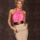 VP254 Dizzying Ruched Halter neck Cocktail Dress for Women -- Pink Plus Khaki (Free size) (Pants & Dresses Category)
