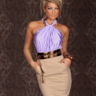 XF929 Dizzying Ruched Halter neck Cocktail Dress for Women -- Purple (Free size) (Pants & Dresses Category)