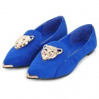 SP270 Fashionable Suede Flats / Flat Shoes with Decorative Leopard Head -- Blue Plus Golden (37) (Shoes Category)