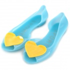 RT691 Heart Flat Heel Crystal Jelly Sandal Shoes -- Blue Plus Yellow (EU 40) (Shoes Category)