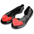 LZ958 Woman's Fashionable Water Proof PVC Peep-toe Flats with Red Heart Ornament -- Black Plus Red (Pair / 38) (Shoes Category)