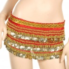 Golden Coins Pendant Belly Dance Hip Skirt Dress Red (70 to 90cm) (Underwear & Socks Category)