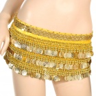 Golden Coins Pendant Belly Dance Hip Skirt Scarf Yellow (70 to 90cm) (Underwear & Socks Category)