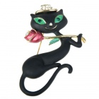 Black Dancing Kitty Cat with Rose Brooch Pin (Clothing Accessories Category)