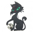 Playing Ball Kitty Cat Brooch Pin (Black) (Clothing Accessories Category)