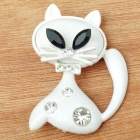 Mystical White Kitty Cat with Crystal Brooch Pin (Black and White) (Clothing Accessories Category)