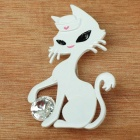 Playing Ball Kitty Cat Brooch Pin (White) (Clothing Accessories Category)