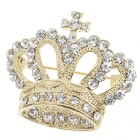 Queen Austrian Crystal Crown Pin Brooch (Yellow Gold Colour) (Clothing Accessories Category)