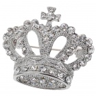 Queen Austrian Crystal Crown Pin Brooch (White Gold Colour) (Clothing Accessories Category)