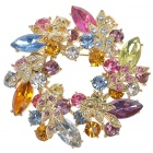 Multicolour Garland Austrian Crystal Pin Brooch (Multicolour) (Clothing Accessories Category)