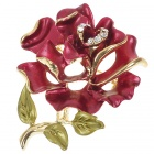 Multicolour Enamel with Austrian Crystal Rose Pin Brooch (Red) (Clothing Accessories Category)