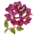 Multicolour Enamel with Austrian Crystal Rose Pin Brooch (Burgundy) (Clothing Accessories Category)