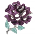 Multicolour Enamel with Austrian Crystal Rose Pin Brooch (Lavender) (Clothing Accessories Category)