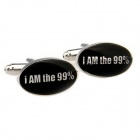 HI255 Oval Shaped White Steel Paint Men's Cufflinks -- Silver Plus Black (Pair) (Clothes and Shoes Category)