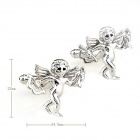 ZI136 Angel Steel Paint Men's Cufflinks -- Silver (Pair) (Clothes and Shoes Category)