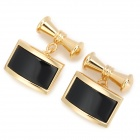 ZB103 Luxurious Chain Decorative Cuff-links for Men -- Golden Plus Black (2 Pieces) (Clothes and Shoes Category)