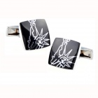 MY867 Statue of Liberty Design Men's Cufflinks -- Silver Plus Black (Pair) (Clothes and Shoes Category)