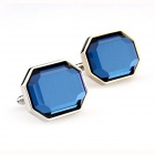 KN363 Blue Men's Cufflinks -- Silver Plus Blue (Pair) (Clothes and Shoes Category)