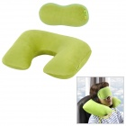 Joy tour OK370 U Shaped Travel Air Inflatable Cotton Wool Cushion Neck Pillow with Eyeshade -- Green (Travel Accessories Category)