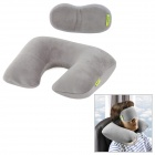 Joy tour XM799 U Shaped Travel Air Inflatable Cotton Wool Cushion Neck Pillow with Eyeshade -- Grey (Travel Accessories Category)