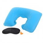 JO-YTOUR-GD TI773 U Shape Travel Air Inflatable Neck Pillow Plus Blinder Plus Ear bud -- Blue Plus Black Plus Orange (Travel Accessories Category)