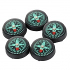 IJ715 25 millimetres Outdoor Survival Button Compass -- Black Plus Green (5 Pieces) (Compasses & Thermometers Category)